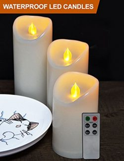HOME MOST Set of 3 Waterproof Pillar LED Candles with Remote & Timer (IVORY, 5″/6&#824 ...