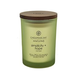 Chesapeake Bay Candle Mind & Body Medium Scented Candle, Simplicity + Hope (Mint Basil)