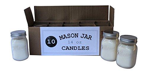 Set of 10 Bulk Wholesale Mason Jar Candles – 14 Ounce – Perfect For Weddings, Restau ...
