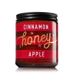 Bath & Body Works CINNAMON HONEY APPLE Single Wick Scented Glass Candle 7 oz with Lid