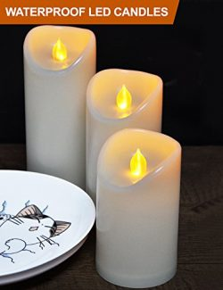 HOME MOST Set of 3 LED Pillar Candles Battery Operated (IVORY, 5″/6″/7″ Tall,  ...
