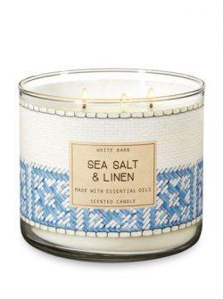 White Barn 3 Wick Candle Sea Salt & Linen