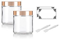 Large Clear Thick Glass Straight Sided Jar with Gold Metal Overshell Lid – 16 oz / 480 ml  ...