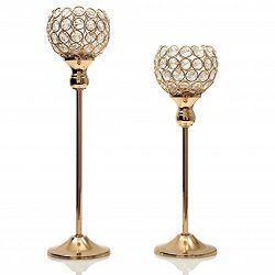 VINCIGANT Gold Crystal Candle Holders Set for Wedding Coffee Table Decorative Centerpiece,Gifts  ...
