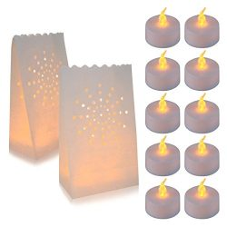 30 Flameless Tea Lights – Yellow Flickering LED Tealight Candles with 30 Bonus Luminary Bags