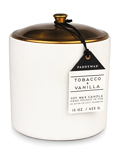 Paddywax Hygge Collection Scented Soy Wax Candle, 15-Ounce, Tobacco & Vanilla