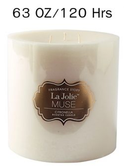 LA JOLIE MUSE Citronella Mosquito Repellent Pillar Candle, Scented Candle Natural Wax,120 Hour B ...