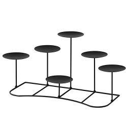 smtyle DIY 6 Flameless Candles Holder Candelabra Decorative Black Iron Pillar Candle Holders For ...