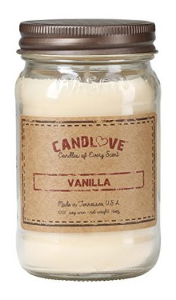 CANDLOVE Vanilla Scented Candle 16 Oz Mason Jar – 100% Soy – Made In The USA