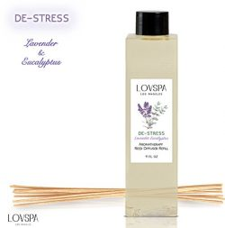 LOVSPA DE-STRESS Lavender Eucalyptus Scented Refill with Replacement Reed Sticks by Fragrances | ...