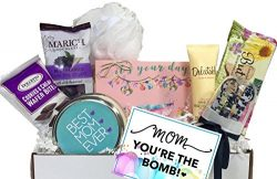 Mother's Day Bath Bomb Fizzy Spa Gift Basket in a Box with Treats and Extras-Unique