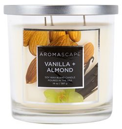 Aromascape Sweet Vanilla 3-Wick Scented Jar Candle Almond