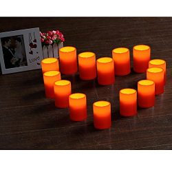 GiveU 3X4 Inches Flameless Plastic Pillar Led Candle With Timer,Battery Operated for Valentine&# ...