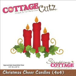CottageCutz Die Cuts, 4 by 4-Inch, Christmas Cheer Candles