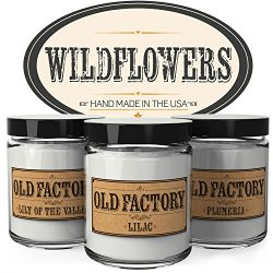 Old Factory Scented Candles – Wildflowers – Set of 3: Lily of the Valley, Lilac, and ...