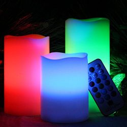 Battery Operated LED Flameless Candles – Vanilla Scented Set of 3 Round Ivory Wax with Fli ...