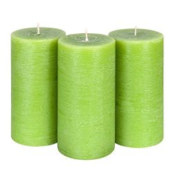 Candle Atelier Olive Green 3″ x 6″ Handmade Pillar Candles, Fragrance-free, Set of 3