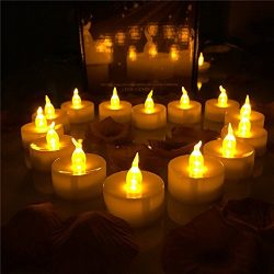Horeset (Lot of 100) Battery-Operated Amber Yellow Flameless LED Tea Light Candles (Batteries In ...