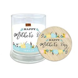 """Mother's Day Gift—""""Happy Mother's Day"""" Vanilla Scented Candle with Wood Wick and All-Natural Soy ..."""