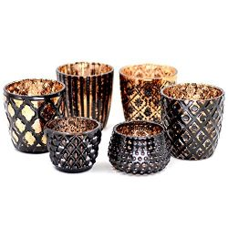 Votive Candle Holders Glass Votive Candle Holder Vintage Style (Set of 6, Golden Coffee) – ...