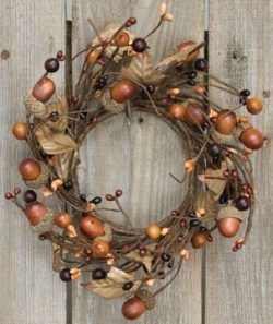 Country Mix Acorn Pip Berry Ring Mini Wreath Fall Autumn Tone Leaves Country Primitive Floral Décor