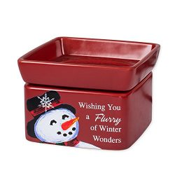 Elanze Designs Snowman Winter Wonders Christmas Stoneware Electric 2 in 1 Jar Candle and Wax Tar ...