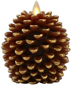 Luminara Pine Cone Candles: 3.5 x 4 Unscented, Battery Operated, Flameless Candles with Timer (B ...