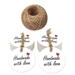 Handmade with love Tags,Mother's Day Gift Tags,100 PCS Handmade Round Kraft Gift Tags with ...