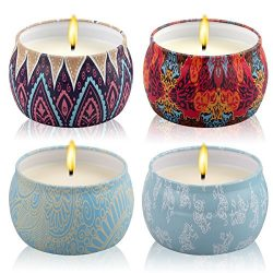 Scented Candles Gift Sets Jasmine Gardenia Rose Lavender Fig 4 Oz Big Eco-Friendly Pure 100% Soy ...