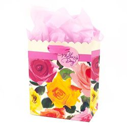 Hallmark Medium Mother's Day Gift Bag with Tissue Paper (Scalloped Floral)
