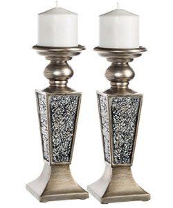 Creative Scents Schonwerk Pillar Candle Holder Set of 2- Crackled Mosaic Design- Functional Tabl ...