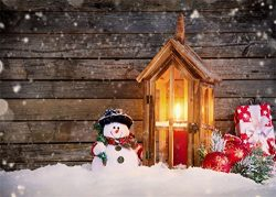 Leowefowa 7X5FT Christmas Backdrop Snowman Lantern Candles Red Balls Gifts Pine Twigs Winter Sno ...