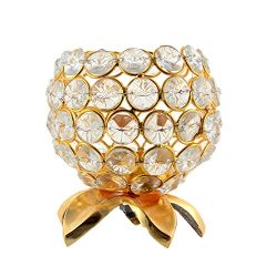 JaipurCrafts Gold Crystal Candle Lantern Holders for Home Decor / Wedding Party Coffee Table Dec ...