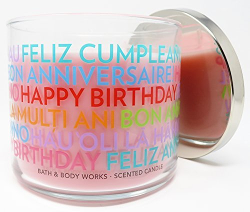 Bath & Body Works Candle 3 Wick 14.5 Ounce Happy Birthday Cranberry Pear Bellini