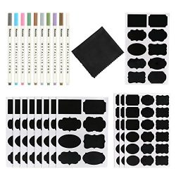 Kesoto 128 Premium Chalkboard Labels Stickers with 10 Colors Marker Set (Plus Clothing Cloth) fo ...