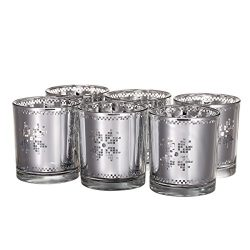 V-More Silver Laser Cut Mercury Glass Votive Candle Holder Tealight Holder Snowflake Pattern 3.5 ...
