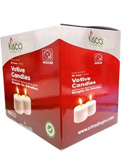 Kisco Candles Votive Candles – Set of 36 Restaurant and Relight Party Candles –White Unscented V ...