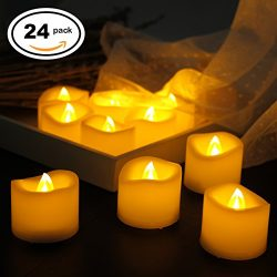 Led Flameless Flickering Votive Tea Lights Candles Battery Powered Set of 24 / Realistic Unscent ...