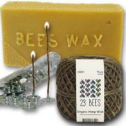Organic Candle Making Bundle Kit | Organic Hemp Candle Wick + Natural Beeswax + Wick Sustainer T ...