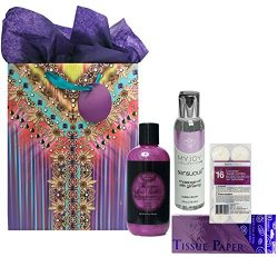 Bubble Bath, Massage Oil and Candles for Wife on Mothers Day with Purple Gift Bag and Tissue Bundle