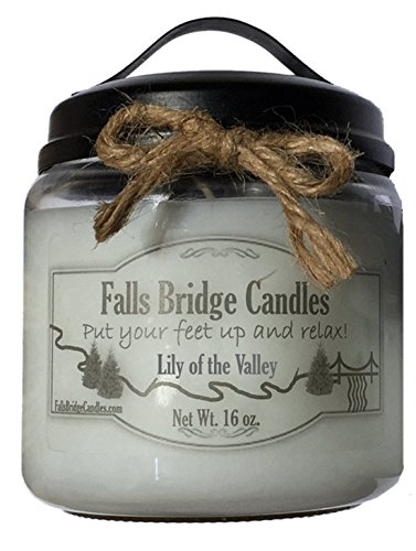Lily of the Valley, 16 oz. Scented Jar Candle, Soy Blend, Falls Bridge Candles