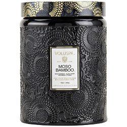 Voluspa Moso Bamboo Large Embossed Glass Jar Candle, 16 oz.