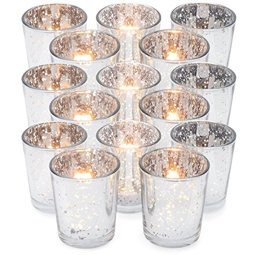 GranRosi Classy Votive Candle Holders Set of 15 by Made Of Mercury Glass With A Speckled Silver  ...