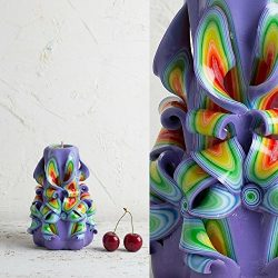 Purple Premium Handmade Decoration Carved Candle Christmas Presents Wedding Centerpiece –  ...