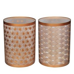 Set of 2 Vintage Metal LED Decorative Candle Lanterns, Hurricane Home Lamp, Candle Holder for Ro ...
