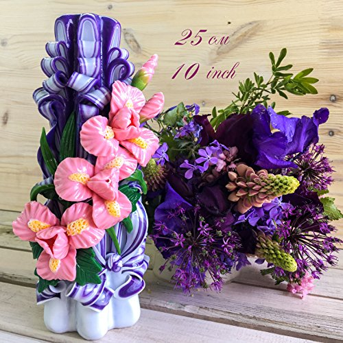 Purple Carved Candles with Pink Flowers – Mother's Day Gift- Decorative Candles &#82 ...
