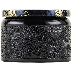 Voluspa Moso Bamboo Petite Embossed Glass Jar Candle, 3.2 oz.