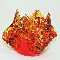 "Glassworks Northwest – Votive ""Fall"" – Fused Glass Candleholder"