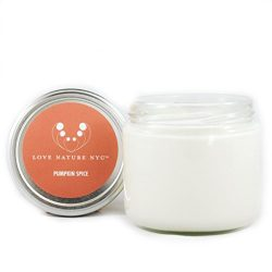 LOVE NATURE NYC Natural Soy Candle Jar, Pumpkin Spice Scented, 60 Hours, Clean Burning Non-Toxic ...
