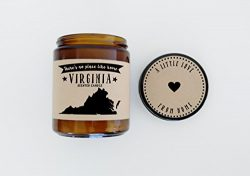 Virginia Scented Candle Missing Home Homesick Gift Moving Gift New Home Gift No Place Like Home  ...